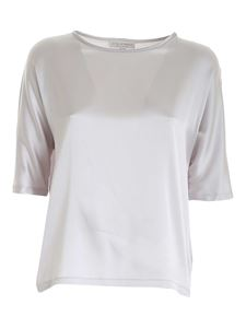 Le Tricot Perugia - Stretch satin blouse in pearl grey