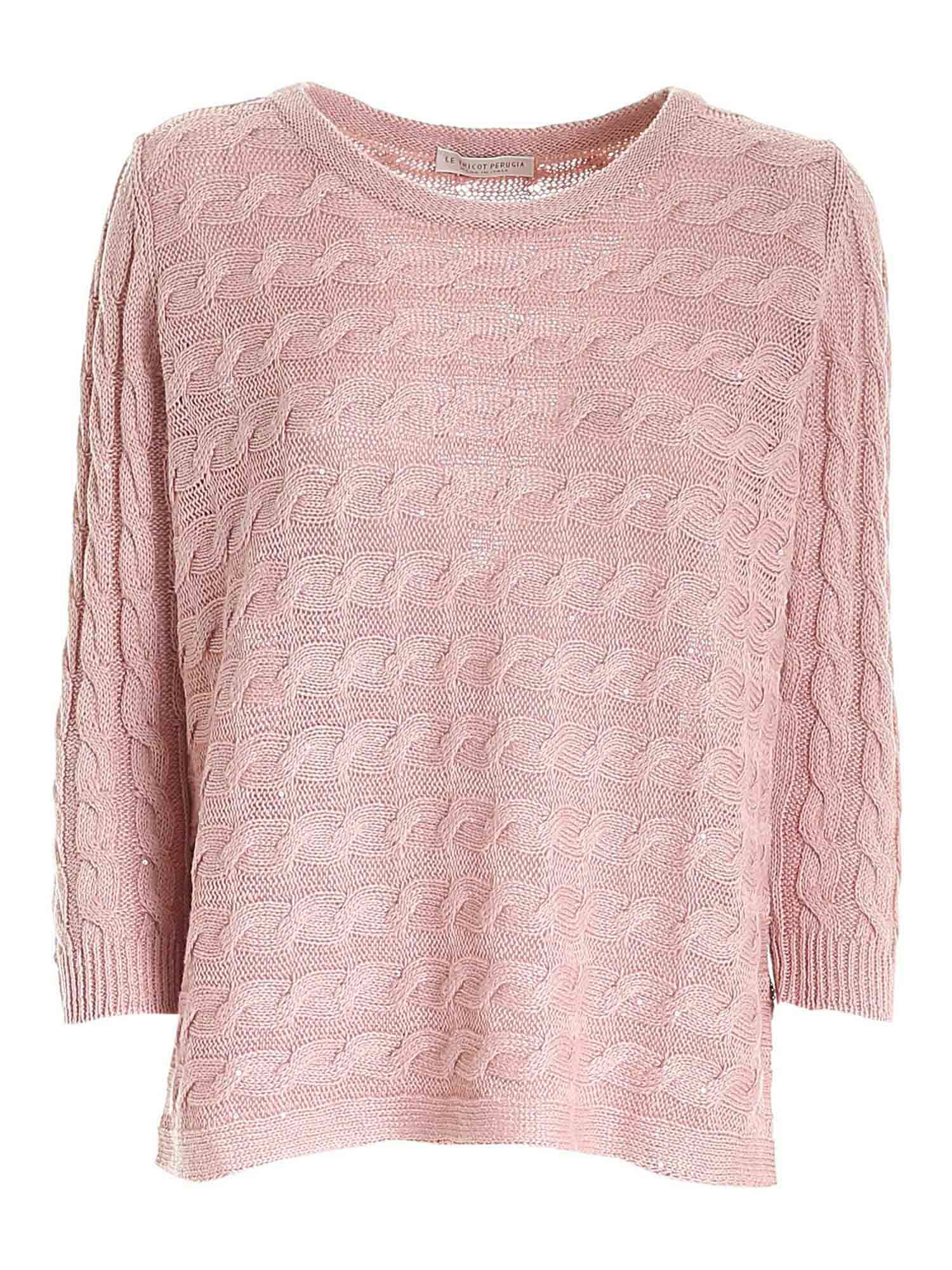 Le Tricot Perugia MICRO SEQUINS SWEATER IN PINK