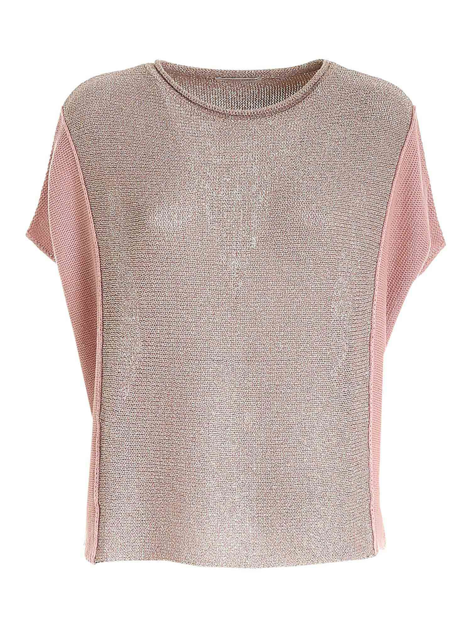 Le Tricot Perugia LAMÉ DETAIL SWEATER IN PINK
