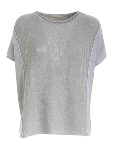 Le Tricot Perugia - Lamé detail sweater in grey