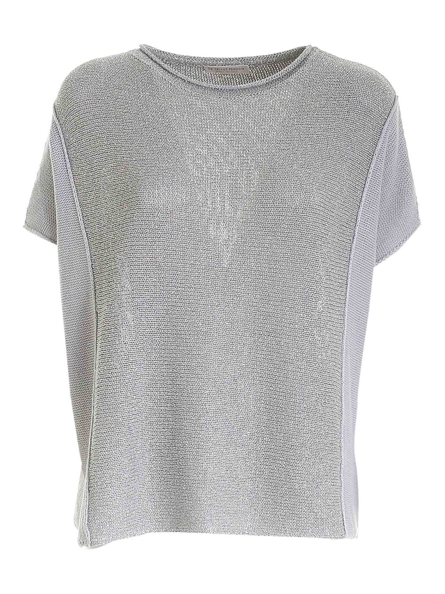 Le Tricot Perugia LAMÉ DETAIL SWEATER IN GREY
