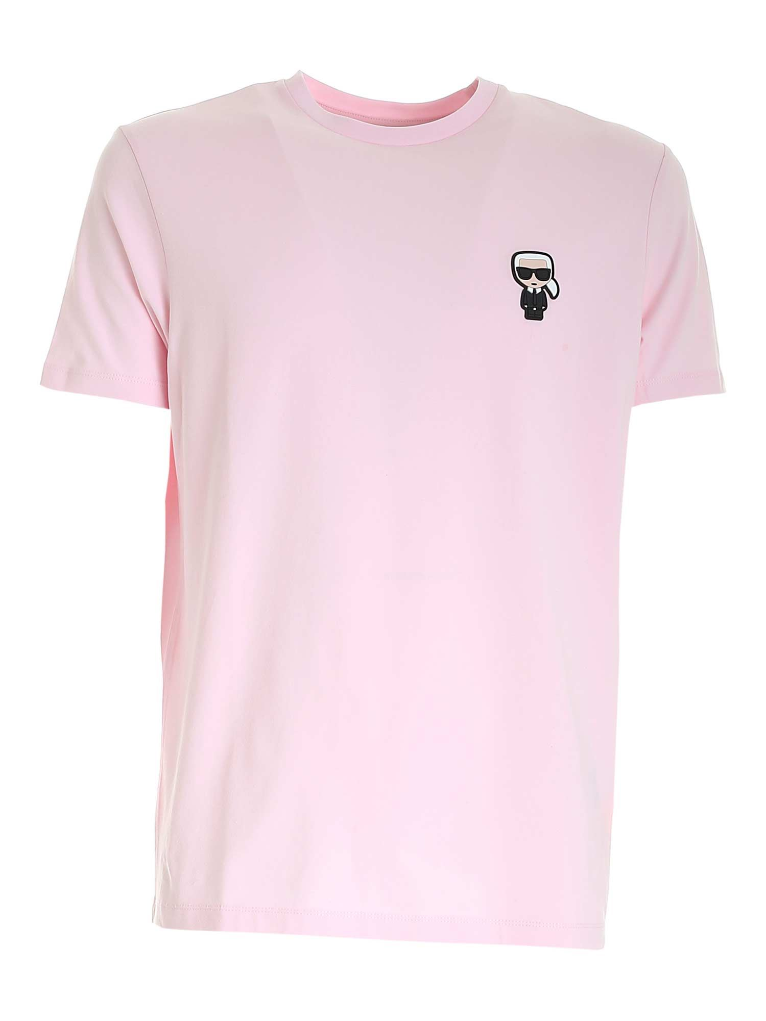 Karl Lagerfeld RUBBERIZED PATCH T-SHIRT IN PINK