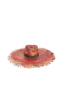 Etro - Floral raffia hat in red