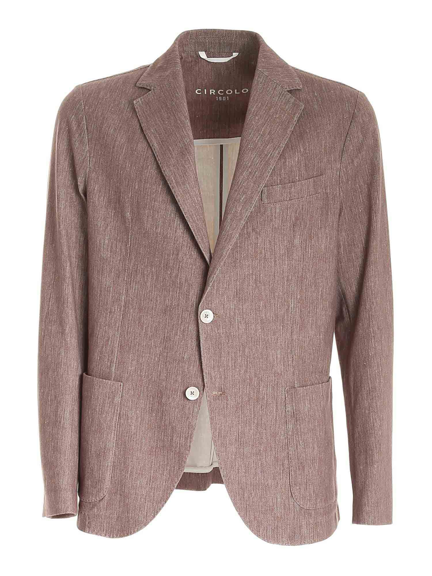 Circolo 1901 Cottons SINGLE-BREASTED JACKET IN BROWN