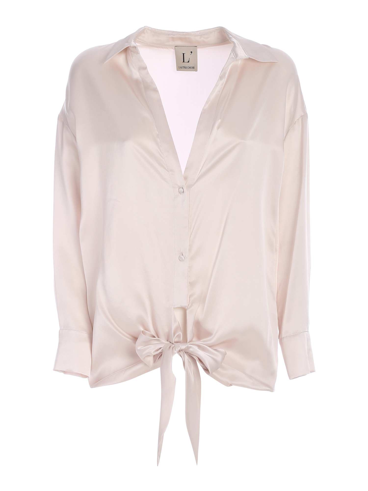 L'autre Chose BOW ON THE HEM SHIRT IN LIGHT PINK