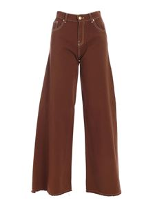 L'Autre Chose - Raw cut flared pants in brown