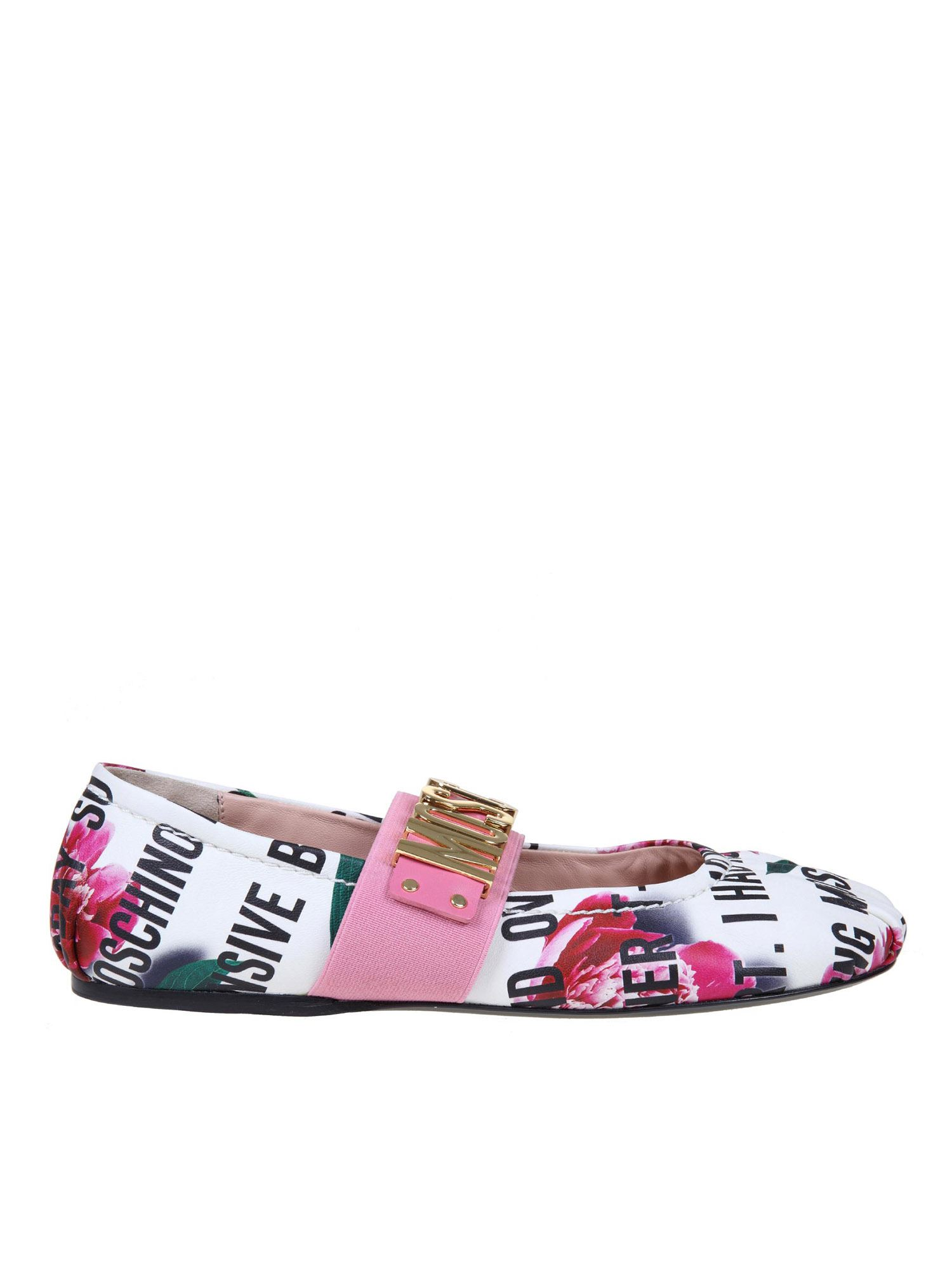 Moschino Leathers LOGO PRINTED BALLET FLATS IN MULTICOLOR