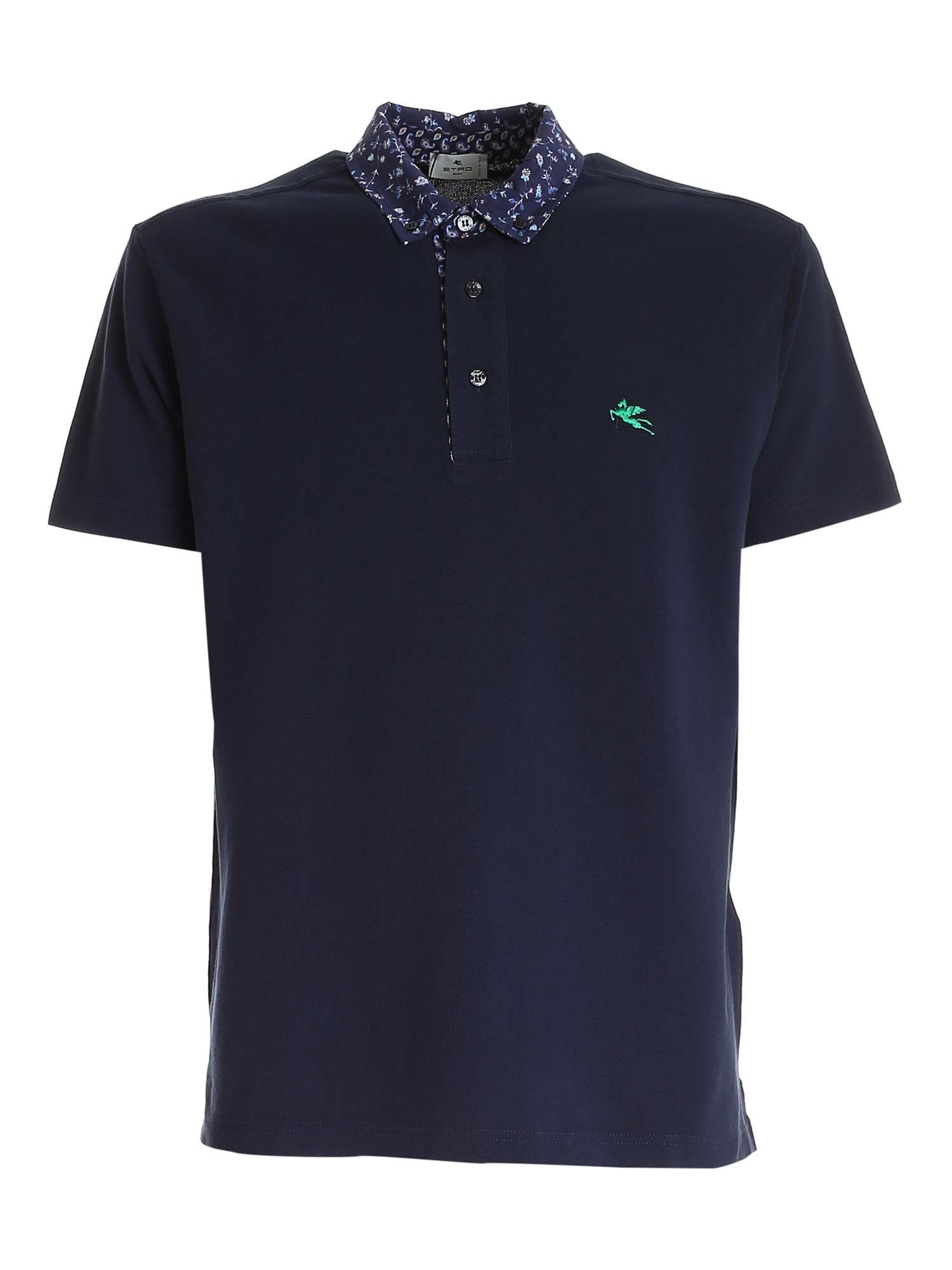 Etro Cottons PRINTED COLLAR POLO SHIRT IN BLUE