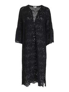 Ottod'Ame - Long broderie anglaise dress in black