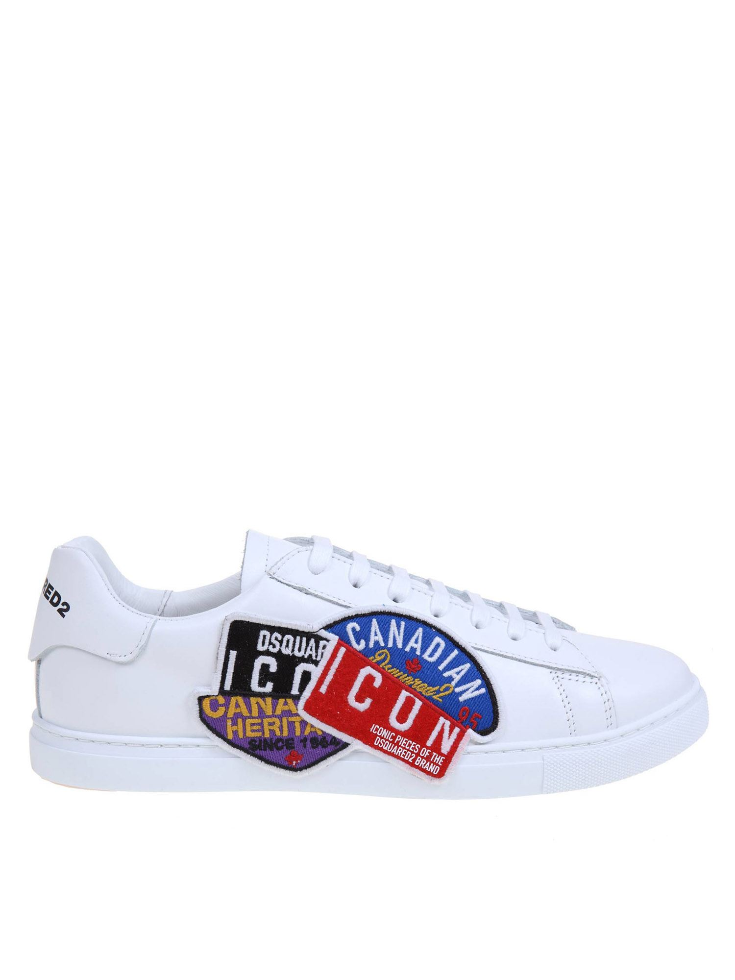 Dsquared2 Leathers NEW TENNIS CANADIAN ICON SNEAKERS IN WHITE