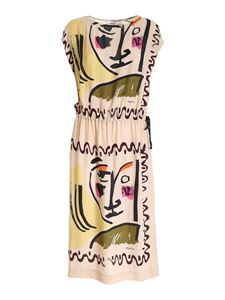 Ottod'Ame - Printed dress with drawstring in beige