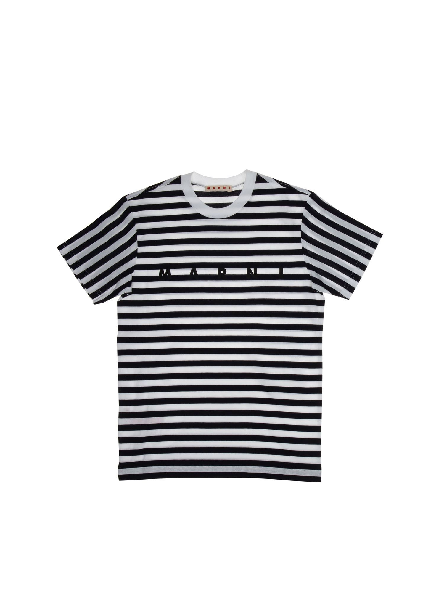 Marni Cottons KIDS STRIPED T-SHIRT IN BLUE AND WHITE