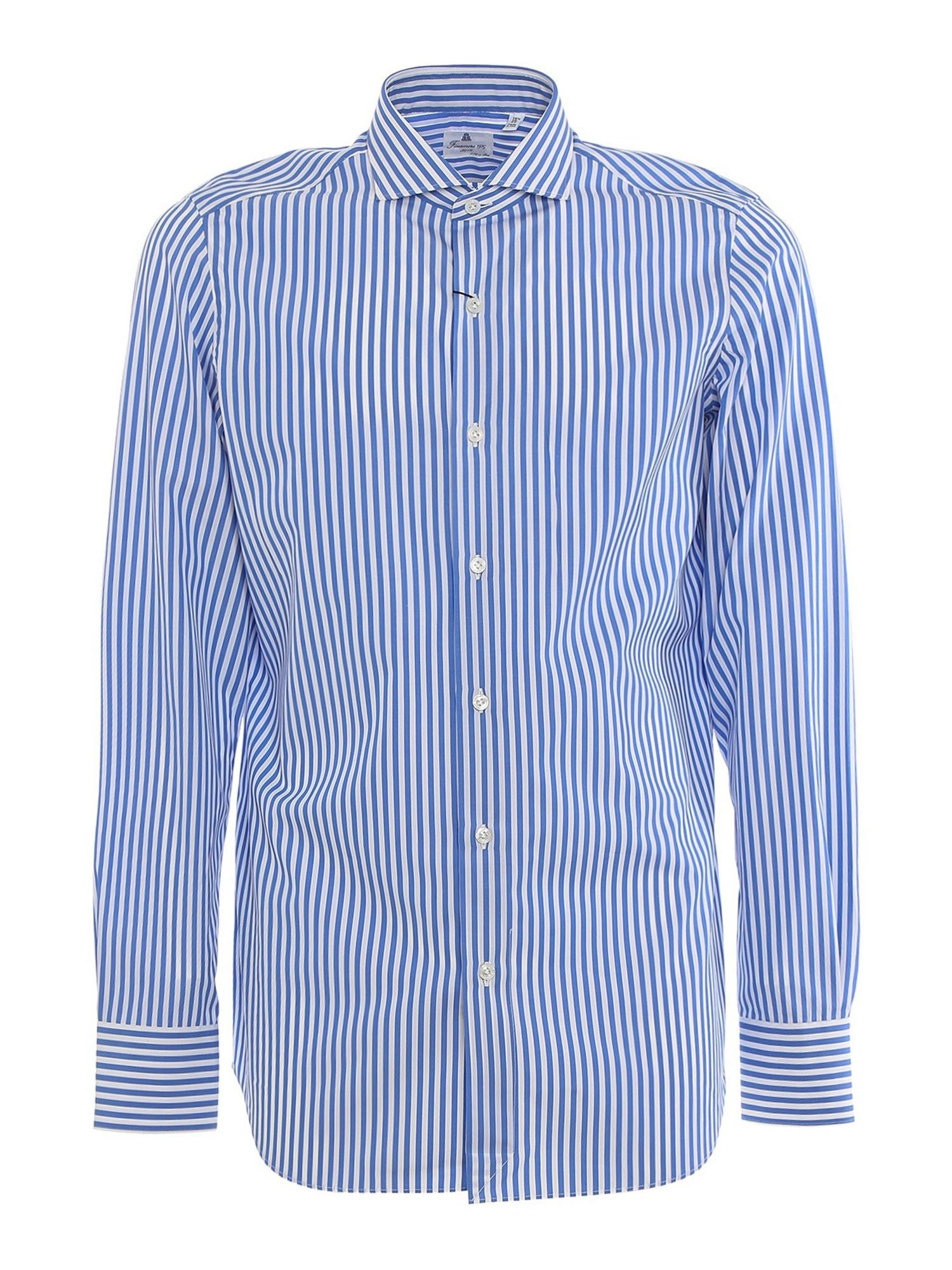 Finamore 1925 Cottons STRIPED COTTON SHIRT IN LIGHT BLUE AND WHITE