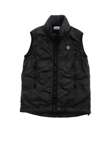 Stone Island Junior - Logo sleeveless puffer jacket in black