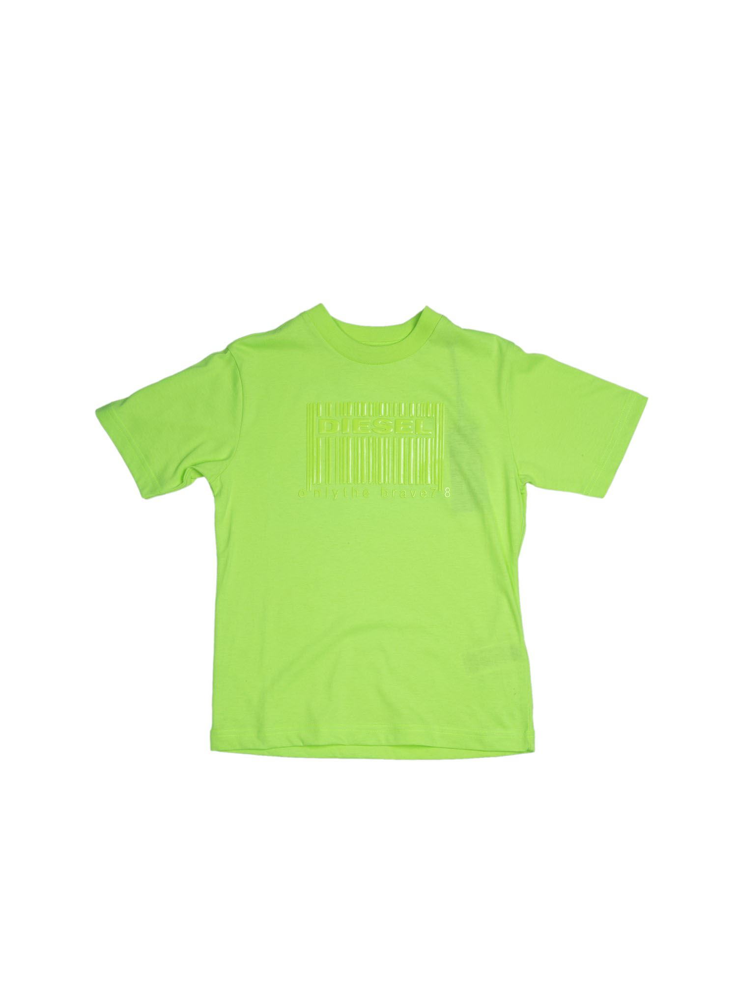 Diesel BARCODE LOGO T-SHIRT IN LIME COLOR