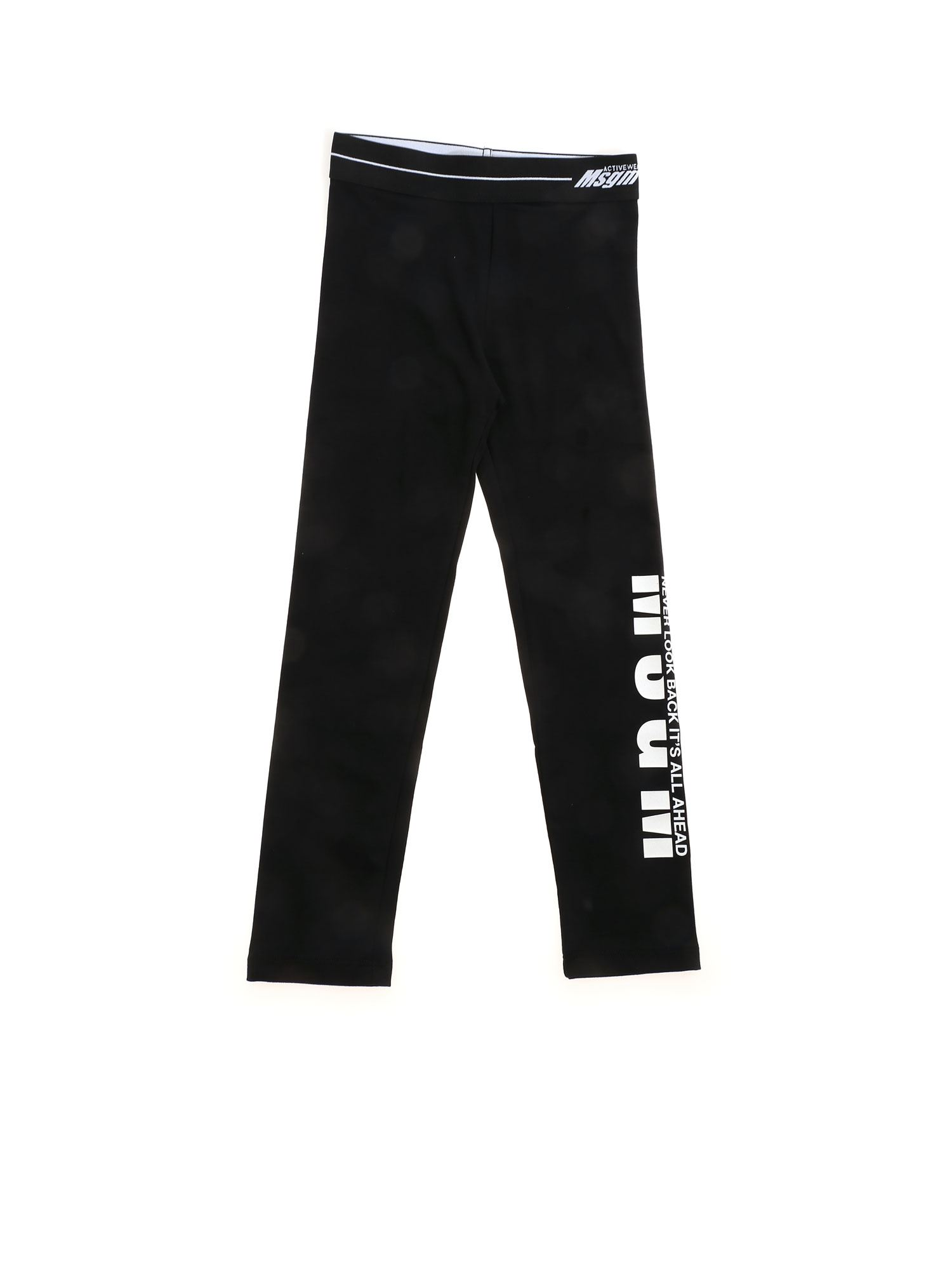Msgm Cottons NEVER LOOK BACK IT'S ALL AHEAD LEGGINGS IN BLACK
