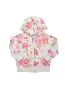 Monnalisa - Rose print sweatshirt in white and pink