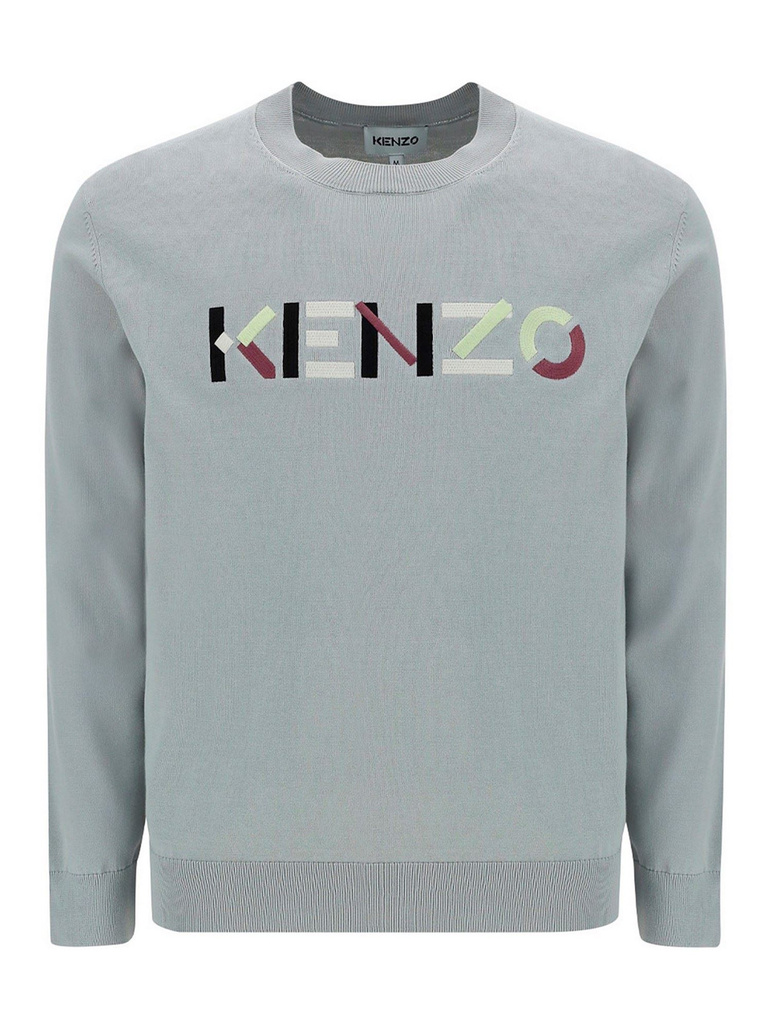Kenzo Cottons LOGO EMBROIDERY COTTON SWEATER IN GREY