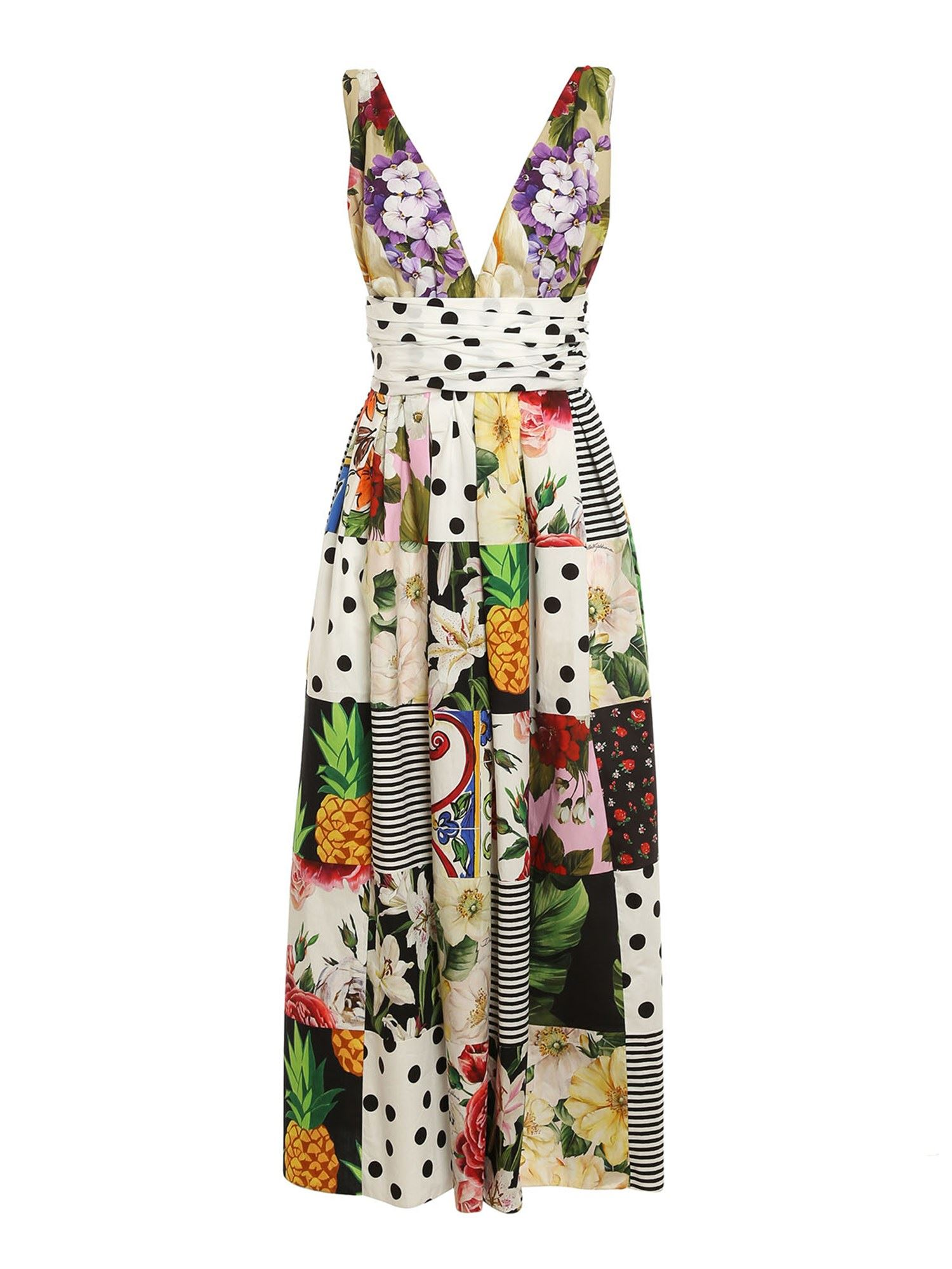 Dolce & Gabbana Cottons PATCHWORK PATTERNED DRESS IN MULTICOLOR