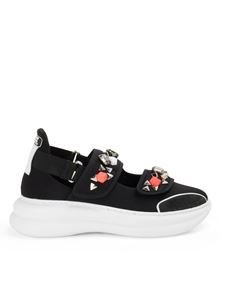 Loriblu - Crystal cut-out trainers in black