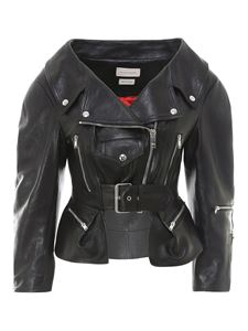 Alexander McQueen - Smooth leather asymmetric jacket in black
