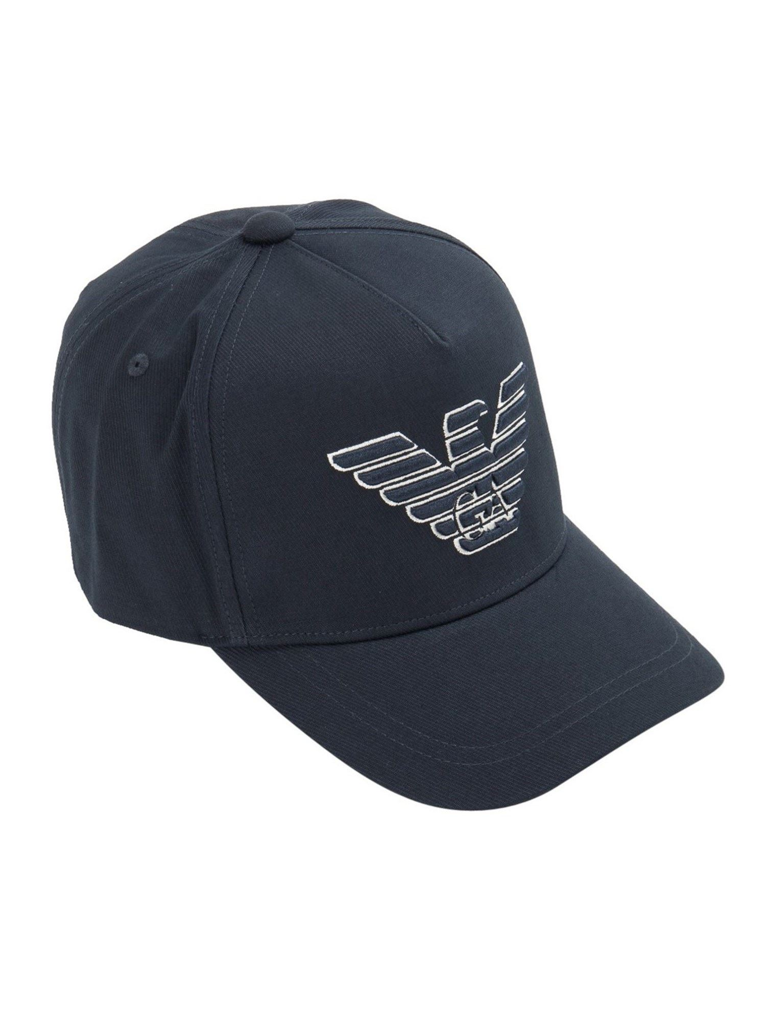 Emporio Armani LOGO EMBROIDERY BASEBALL CAP IN BLUE
