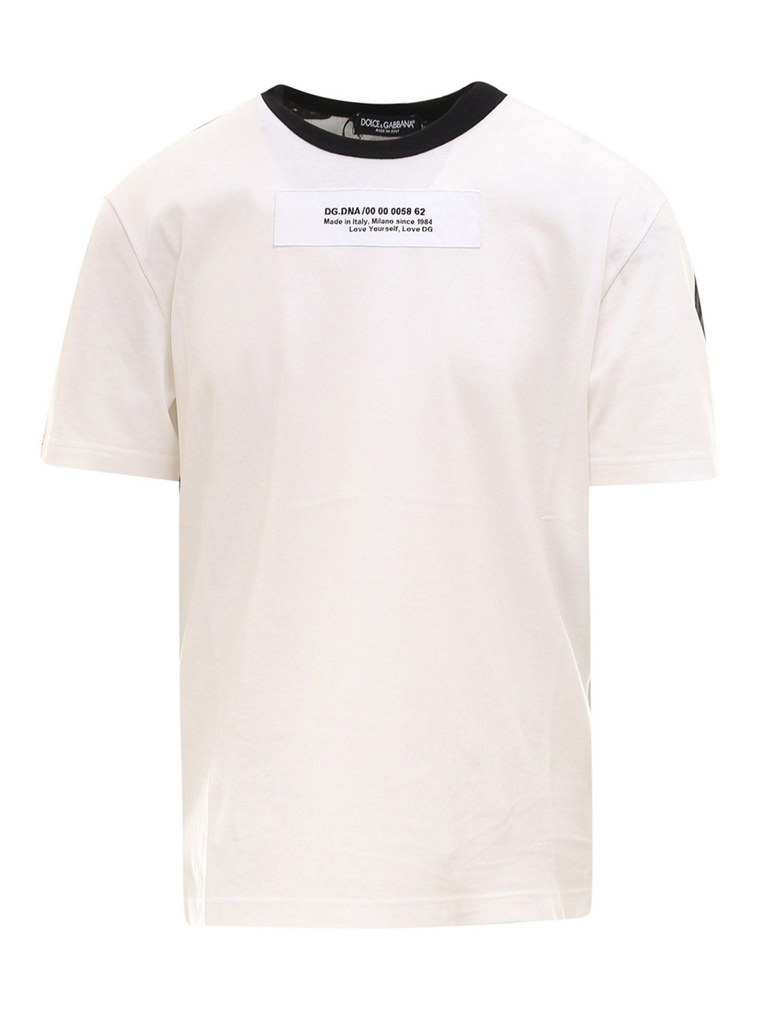 Dolce & Gabbana Cottons PRINTED T-SHIRT IN WHITE AND CAMOUFLAGE PATTERN