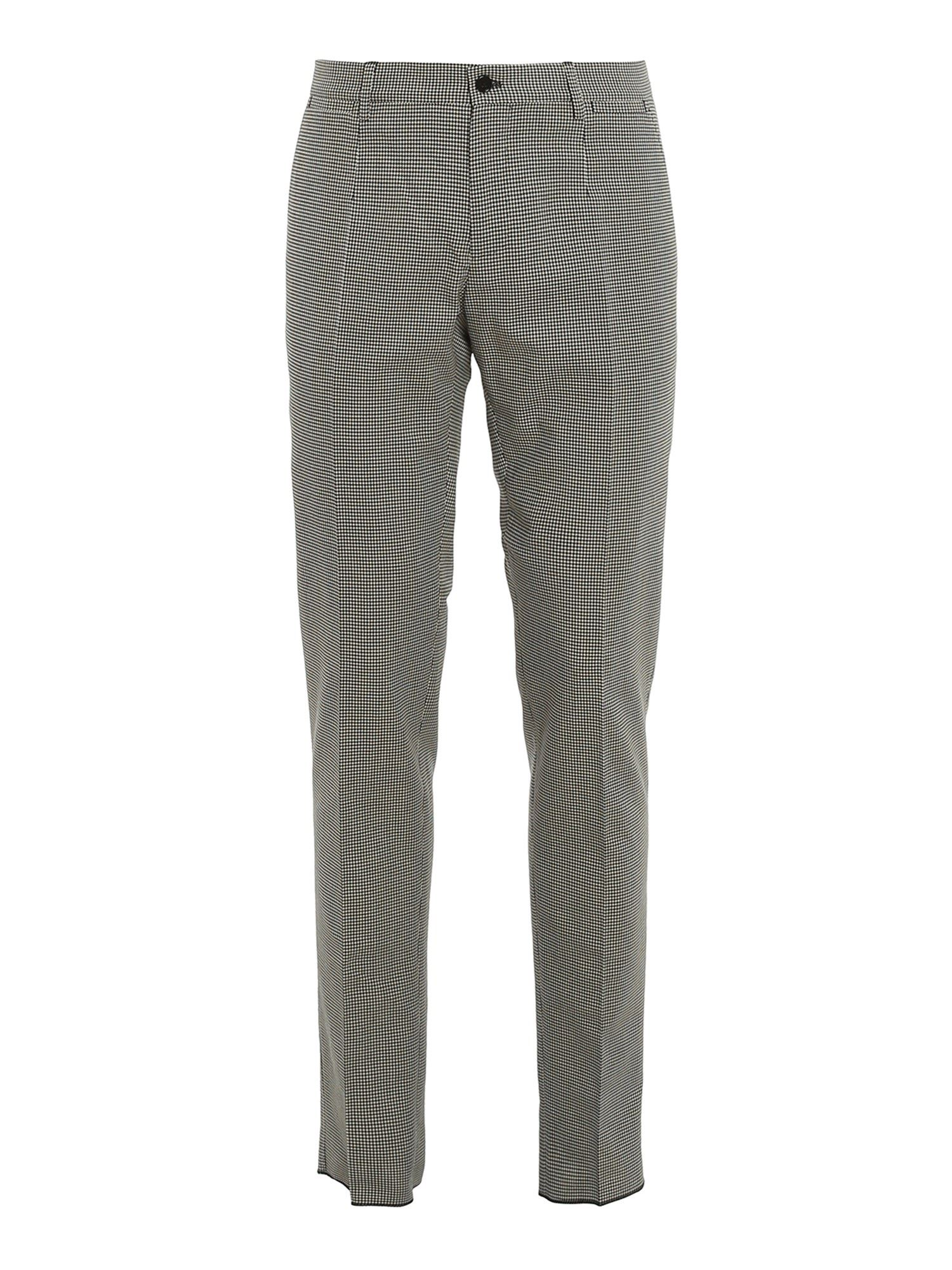 Dolce & Gabbana Cottons HOUNDSTOOTH PATTERNED PANTS IN BLACK AND WHITE