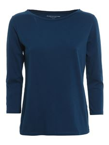 Majestic Filatures - Three quarter sleeved T-shirt in blue