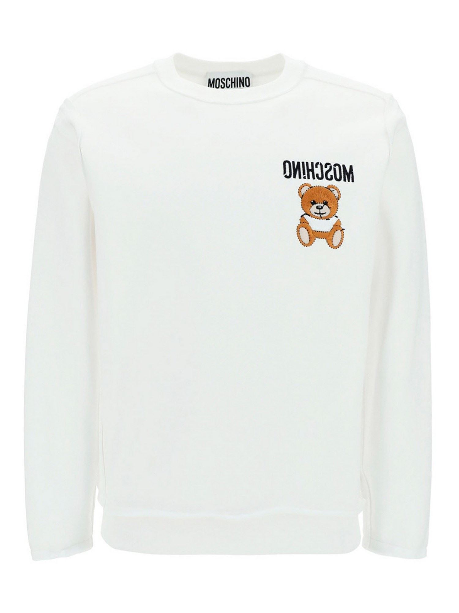 Moschino LOGO COTTON SWEATER IN WHITE