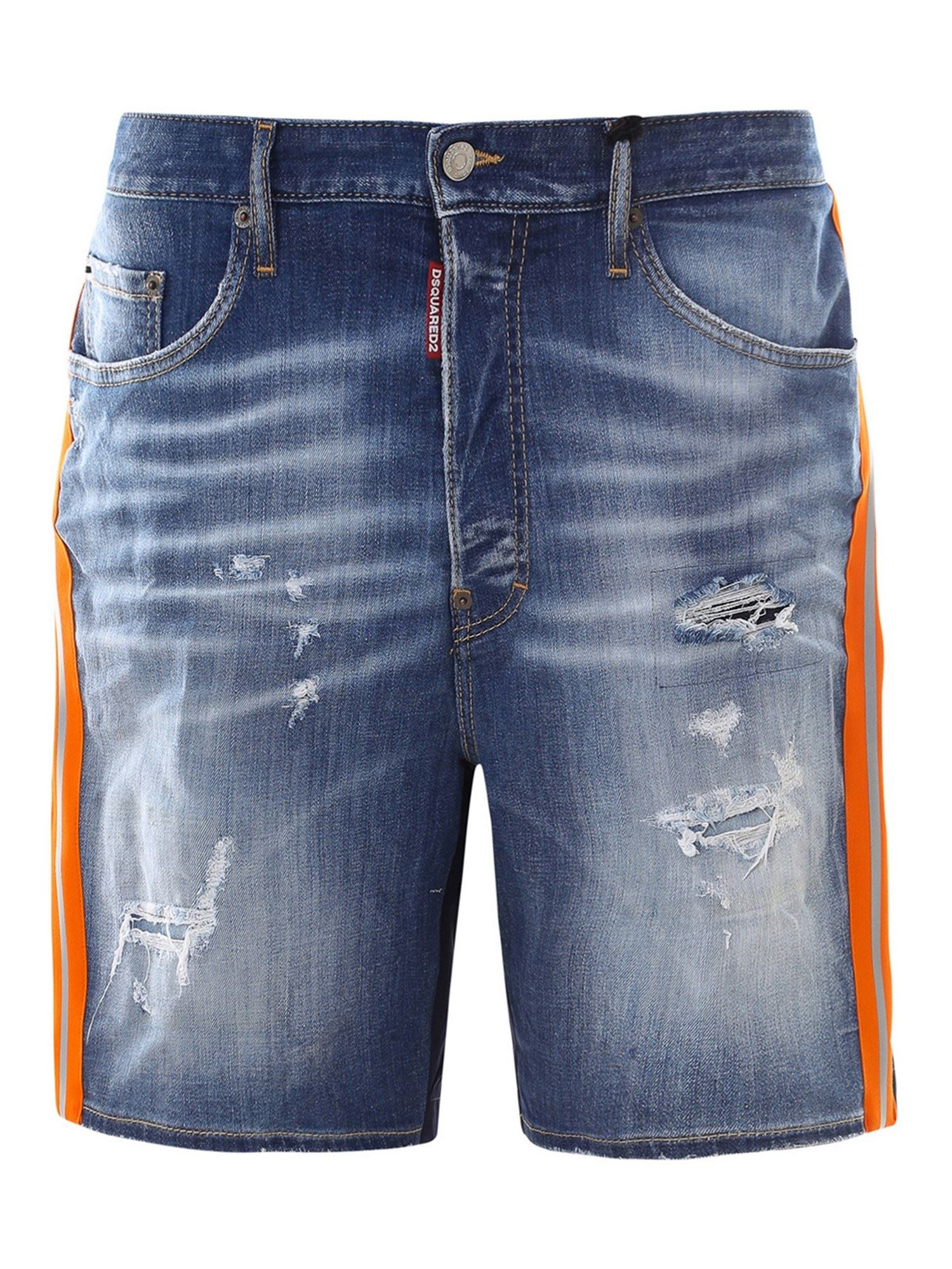 Dsquared2 Denims DENIM AND TECHNICAL FABRIC SHORTS IN BLUE