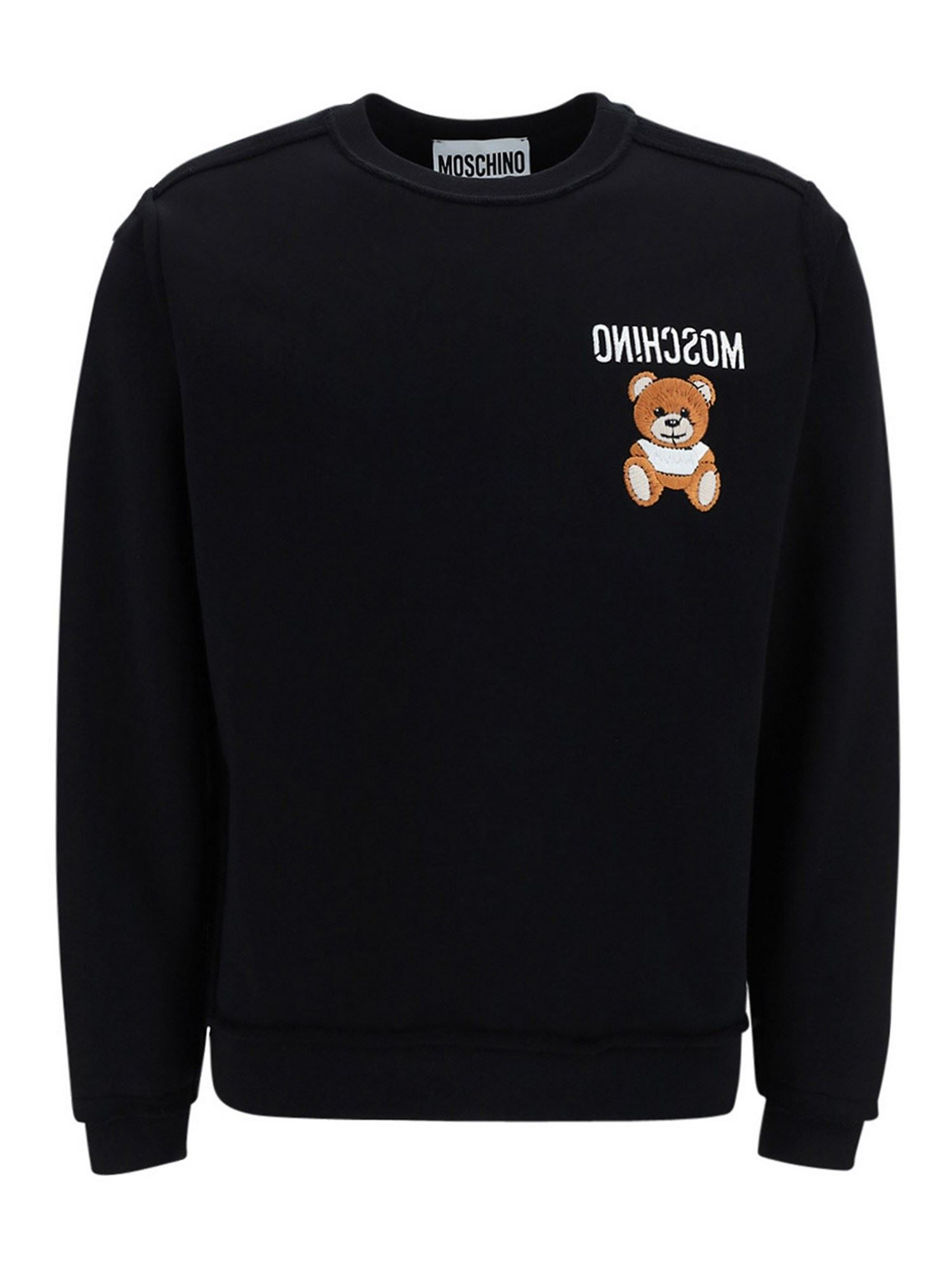 Moschino LOGO COTTON SWEATER IN BLACK