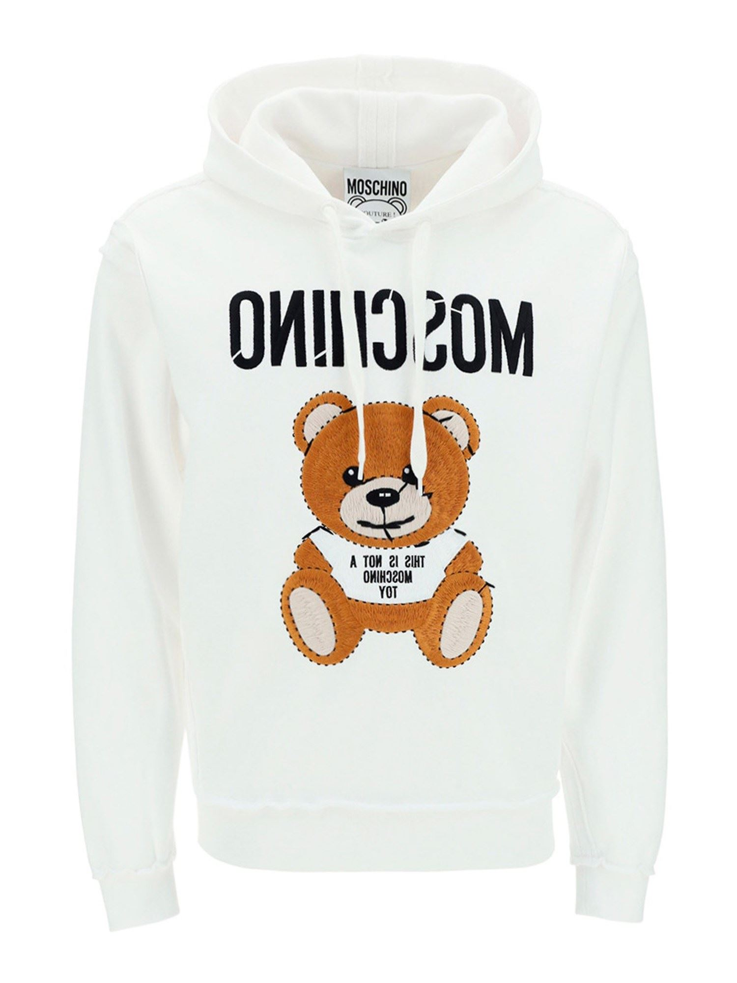 Moschino Cottons LOGO COTTON HOODIE IN WHITE