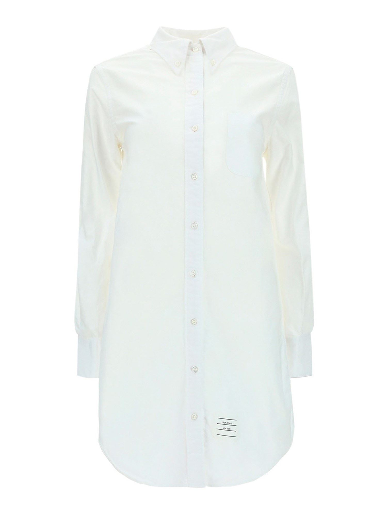 Thom Browne Cottons COTTON SHIRT DRESS IN WHITE