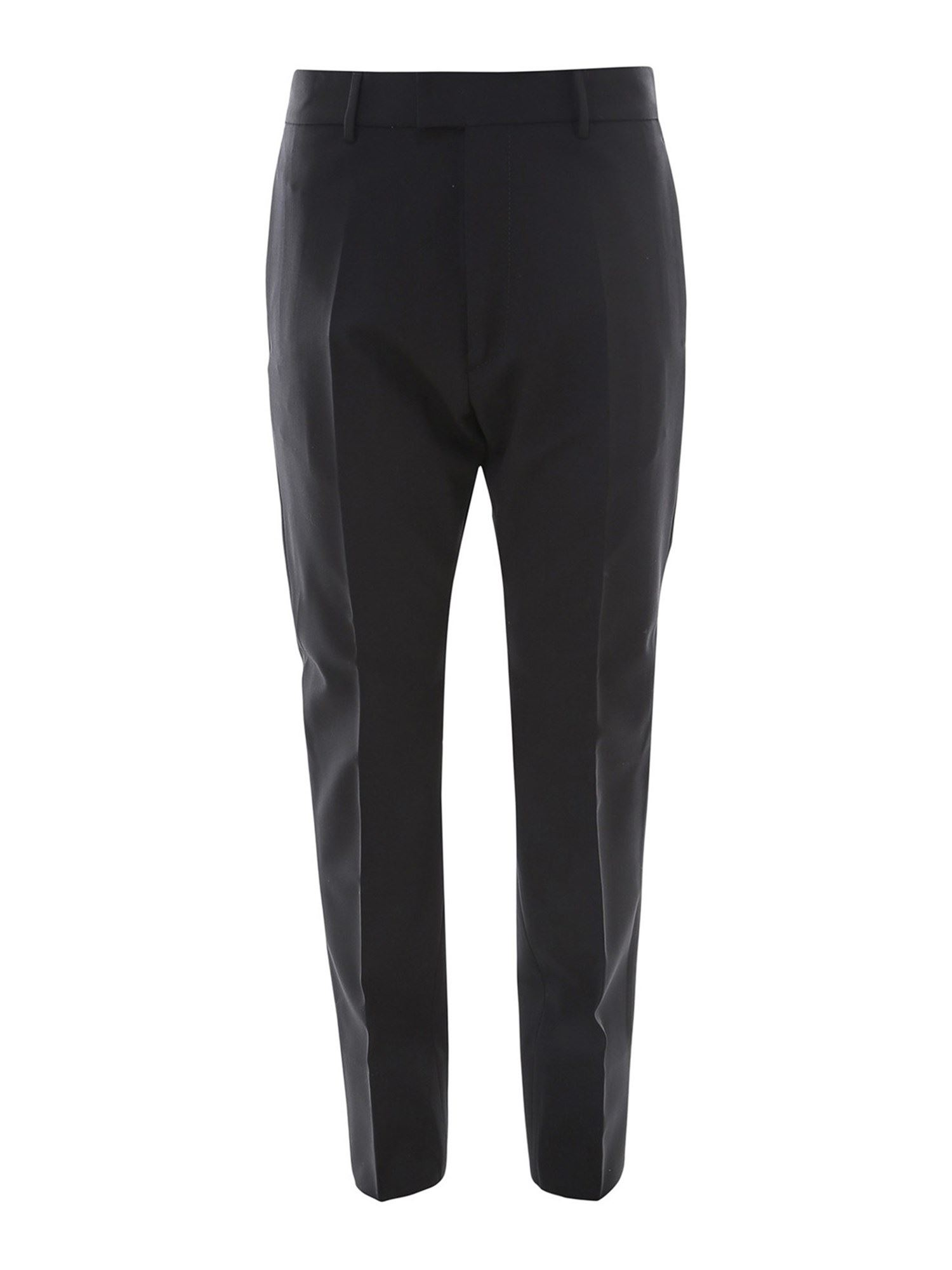 Dsquared2 Wools WORSTED WOOL CIGARETTE TROUSERS IN BLACK