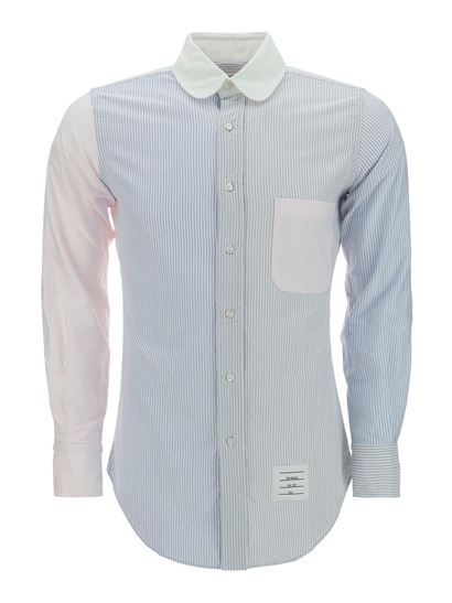 Thom Browne - Patchwork shirt in light blue