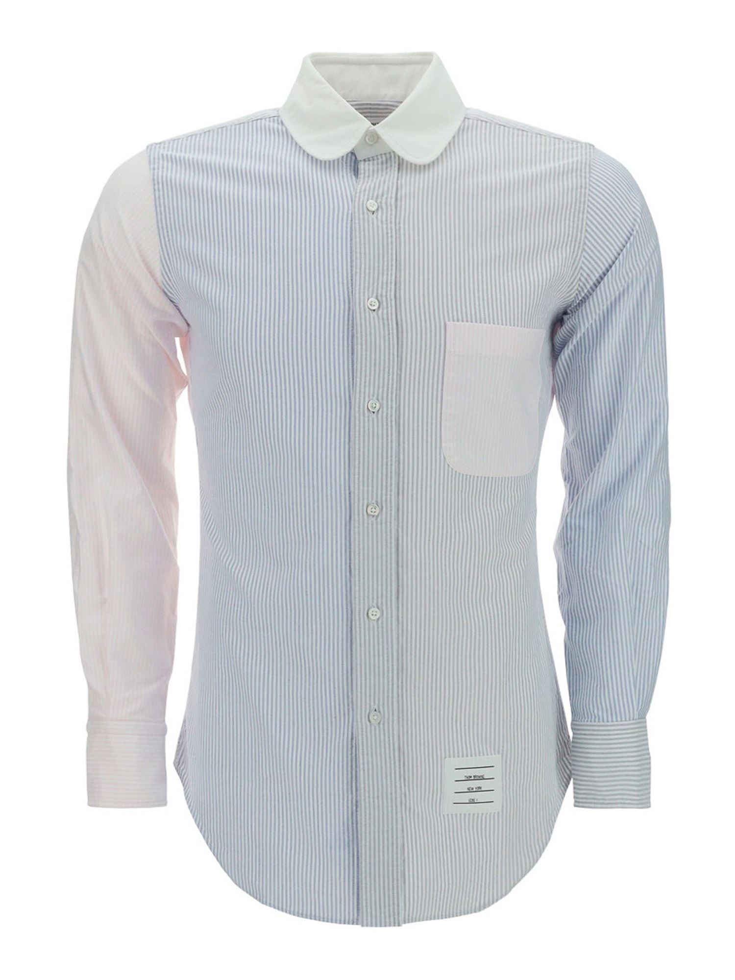 Thom Browne Cottons PATCHWORK SHIRT IN LIGHT BLUE
