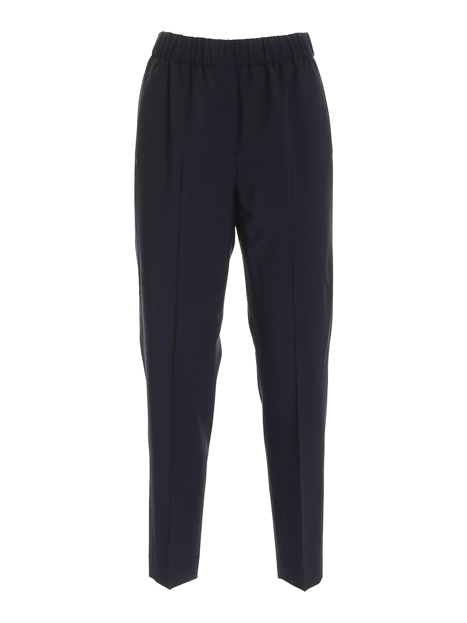 Peserico Track pants HIGH WAISTED PANTS IN DARK BLUE