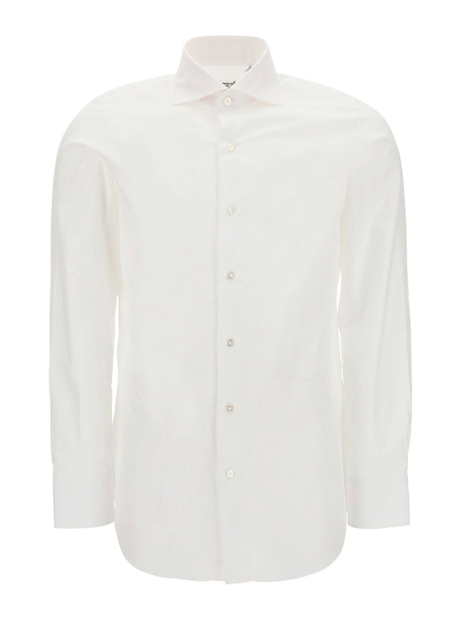 Finamore 1925 Cottons FRENCH COLLAR COTTON SHIRT IN WHITE