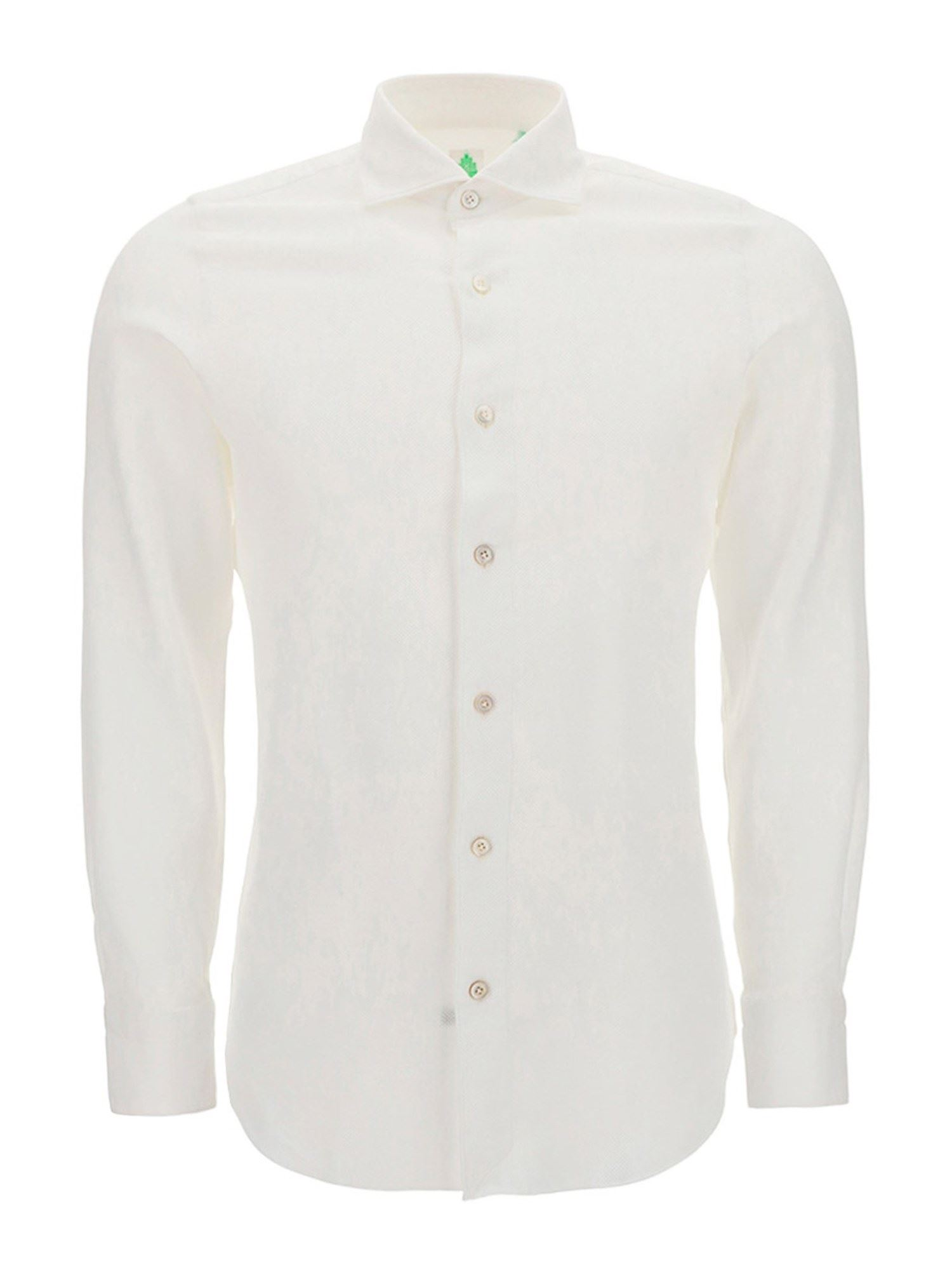 Finamore 1925 Cottons FRENCH COLLAR COTTON SLIM FIT SHIRT IN WHITE