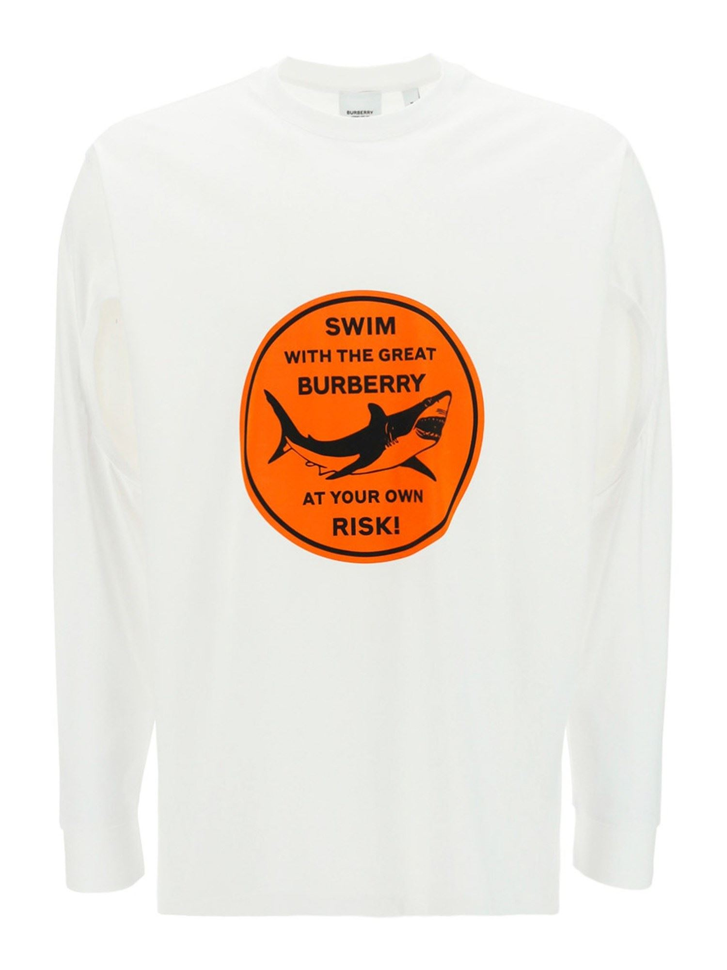 Burberry Cottons SHARK PRINT COTTON T-SHIRT IN WHITE