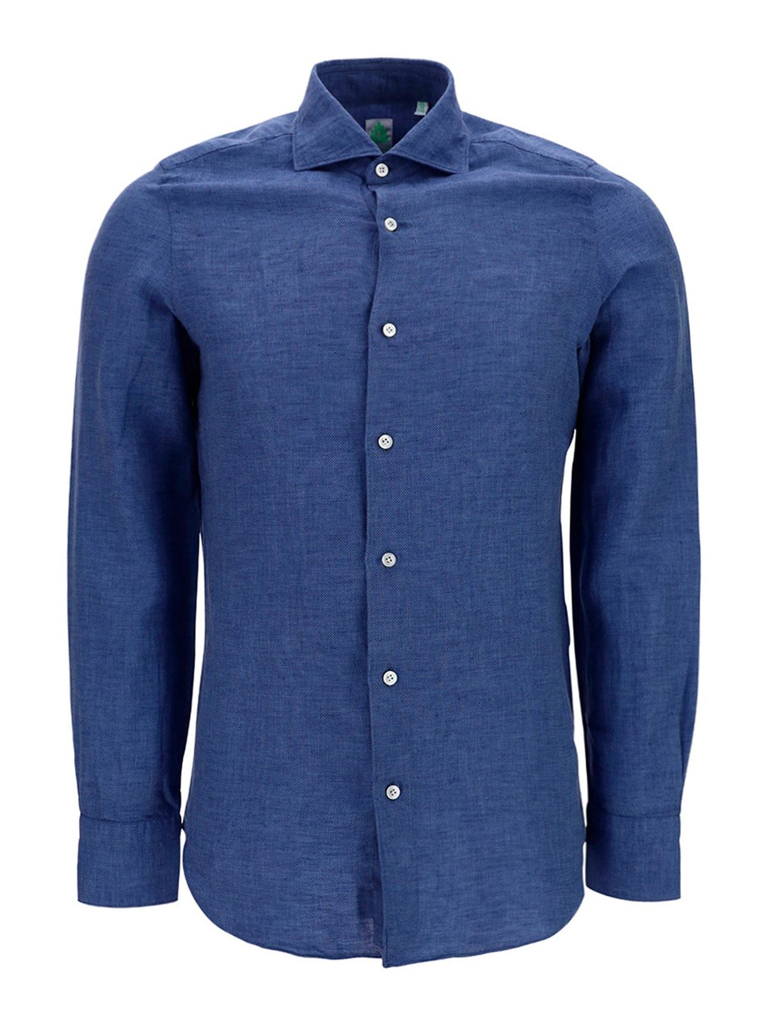 Finamore 1925 Cottons FRENCH COLLAR COTTON SLIM FIT SHIRT IN BLUE