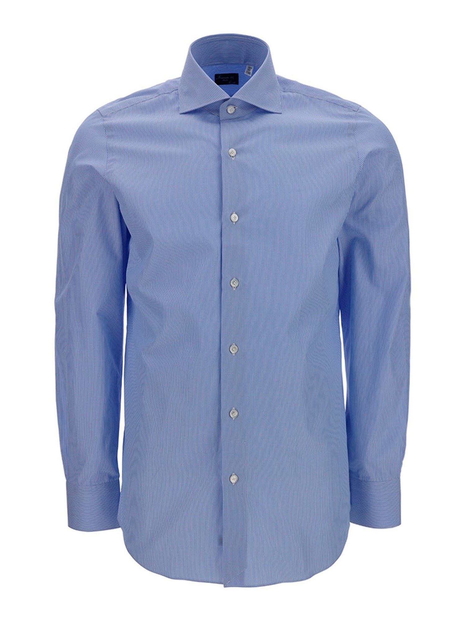Finamore 1925 Cottons STRIPED COTTON SHIRT IN LIGHT BLUE
