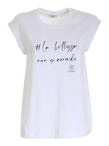 Peserico - Print and micro beads top in white