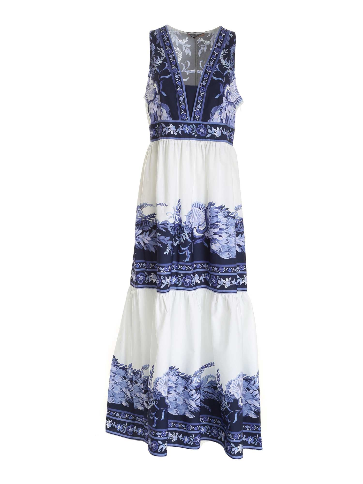 Twinset Maxi dresses FLORAL PRINT SLEEVELESS DRESS IN WHITE AND BLUE