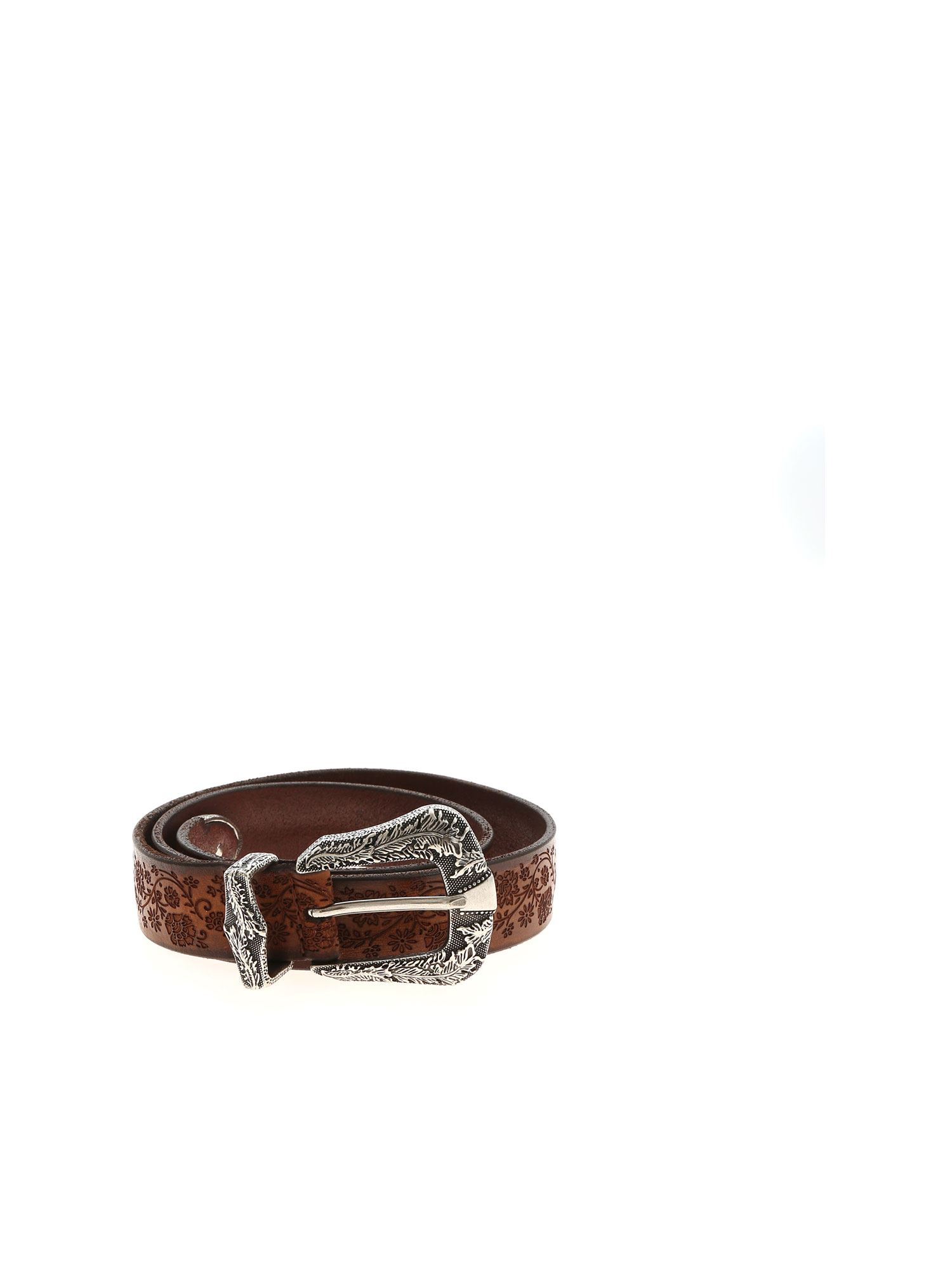 Orciani FLORAL PATTERN LEATHER BELT IN BROWN