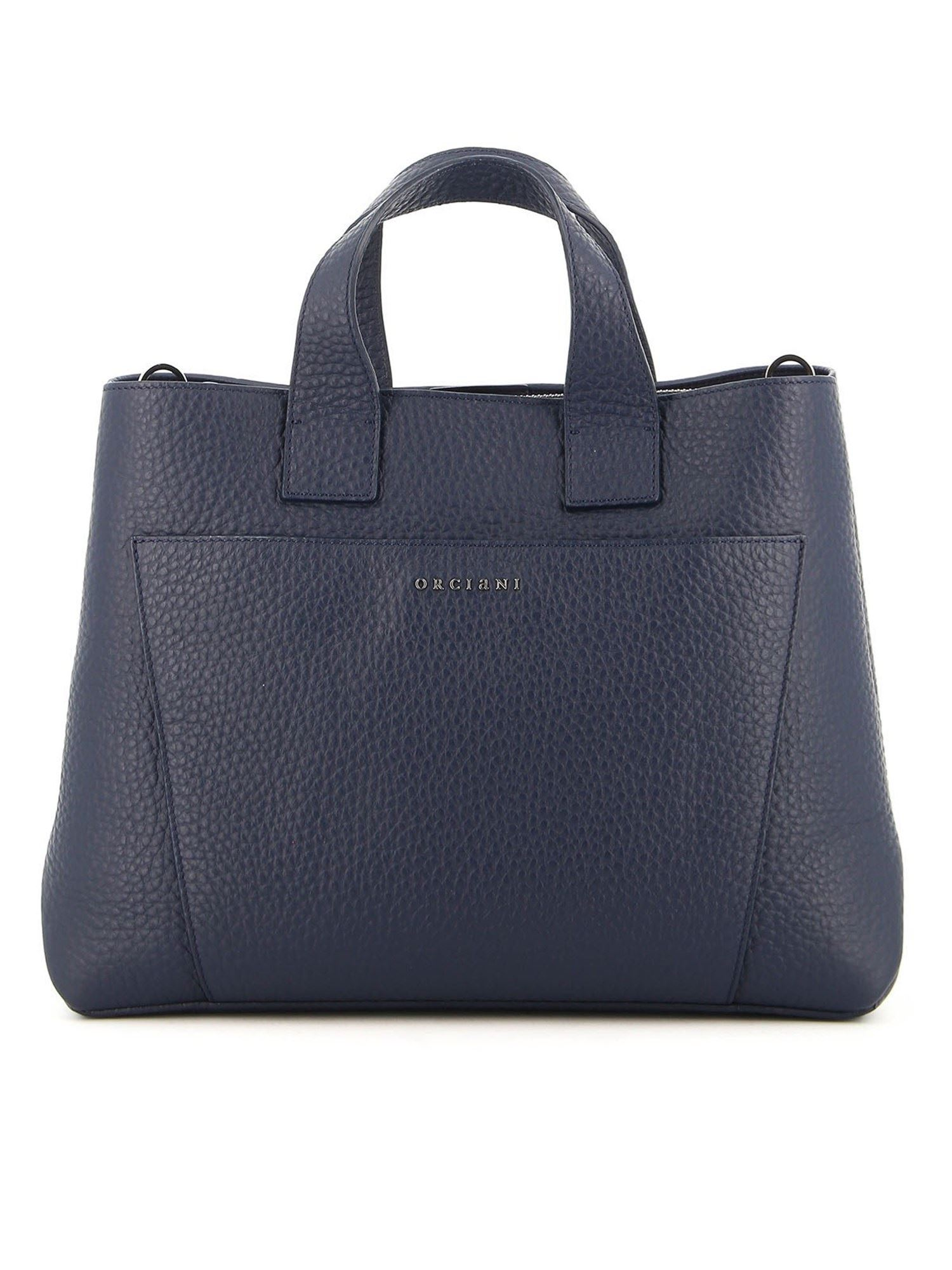 Orciani Leathers NORA SOFT LARGE TOTE BAG IN BLUE