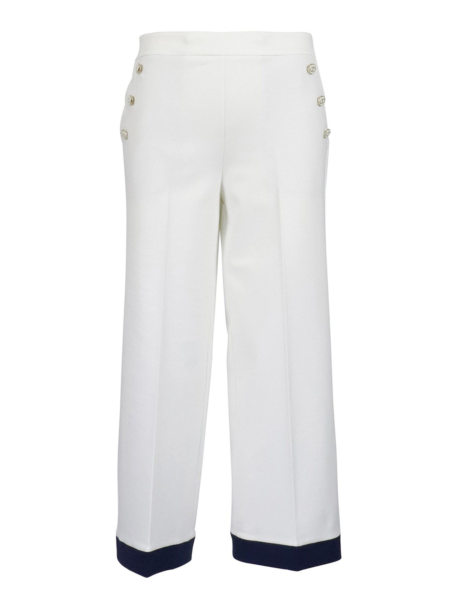 Twinset VISCOSE BLEND PANTS IN WHITE