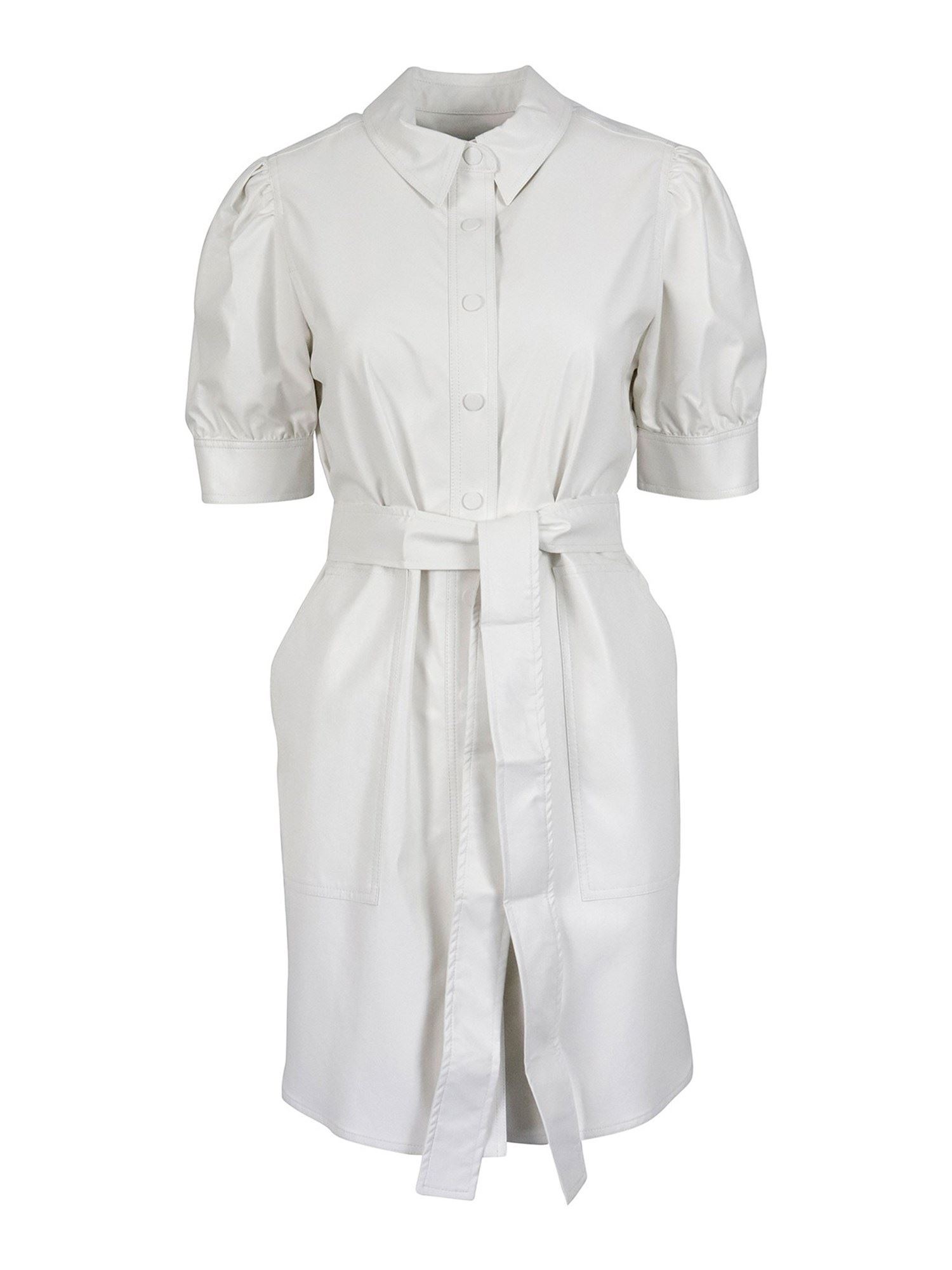 Twinset Dresses COATED FABRIC SHIRT DRESS IN WHITE