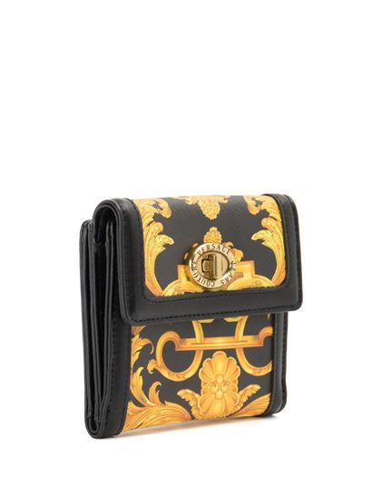 Versace Jeans Couture - Baroque print bifold wallet in black